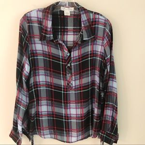 Plaid Blouse Top Roll Tab Long Sleeves Large